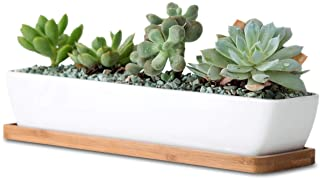 11inch Long Rectangle White Ceramic Succulent Planter Pots/Mini Flower Plant Containers with Bamboo Saucers. Product Size:11x2.36x1.77inch,not Include The Plant. (Long Rectangle)
