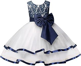 Zhuhaitf 高品質 Big Girls Dress Big Bow Princess Formal Party Wedding Bridesmaid Tulle ドレス for 3-8 year old