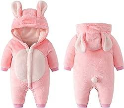 Mousmile Newborn Infant Baby Boys Girls Thick Fleece Snowsuit Long Sleeve Rabbit Pajamas Warm Jumpsuit Kids Clothes