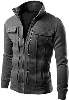Cappotto Giacca Cardigan Uomo Stile Semplice Bavero Slim Fit Capispalla Cappotto Cerniera Manica Lunga Colore Solido