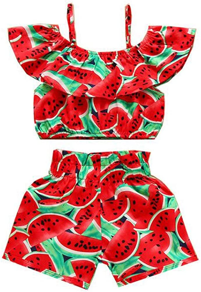 Toddler Ranking TOP20 Baby Girl Summer A surprise price is realized Clothes Watermelon Sleeve Sunflower Set