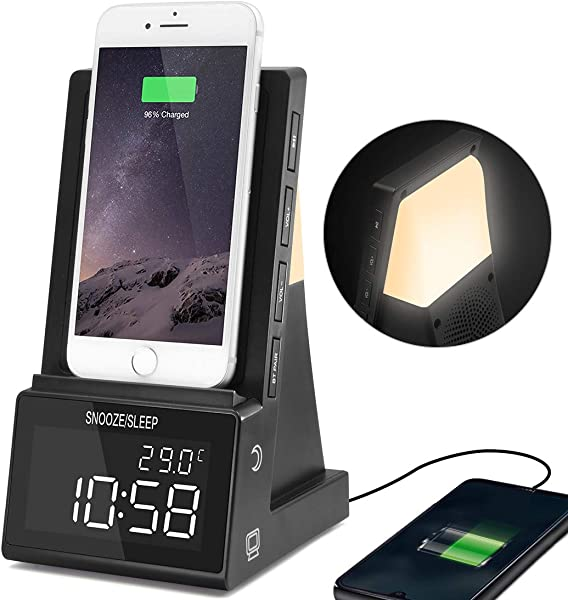 Dpnao Digital Alarm Clock With Night Light Temperature Large Numbers USB Charging Port Dimmable Simple To Operate For Home Bedroom Nightstand Office Hotel
