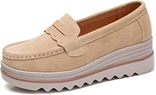 7b53adacfcf HKR Womens Slip On Platform Shoes Casual Suede Loafers Comfortable Wedge  Sneakers