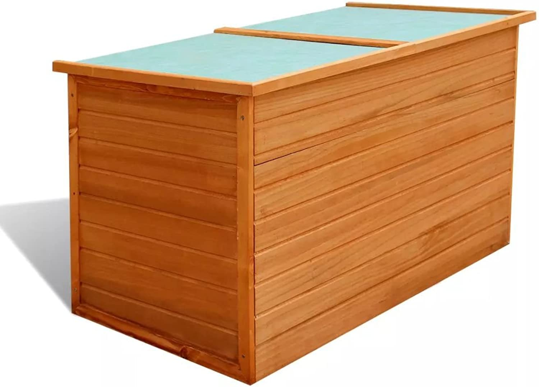 Festnight Wasserdichte Garten Aufbewahrungsbox Gartenbox Auflagenbox aus Holz 126 x 72 x 72 cm für Garten oder Terrasse