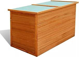 vidaXL Garden Storage Box Wood Ottoman Water Resistant Container Organiser