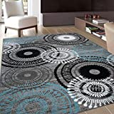 Contemporary Circles Area Rug 3'3' x 5'3' Gray/Blue