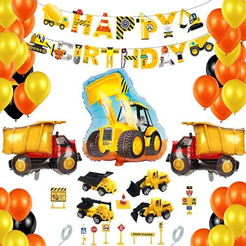 BOYATONG Deco Anniversaire Garcon,Ballon Anniversaire Decoration Garcon 1 2 3 4-10 Ans,Camion,Chantier,Cars, Tracteur pour Enfant,Garçon