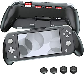 Grip Case for Nintendo Switch Lite, OIVO Comfortable & Ergonomic Asymmetrical Hand Grip Case Buil-in Adjustable Stand with 4 Game Slots for Nintendo Switch Lite (Lite Rider)- Thump Caps Included