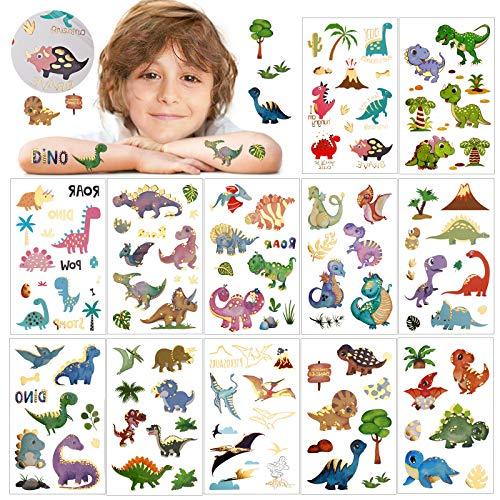 HOWAF Tatuajes temporales de Dinosaurio con Purpurina para Adolescentes, niños y niñas,Tatuaje de Dinosaurio a Prueba de Agua para el Tema de Dinosaurio,Suministros para Fiestas de cumpleaños