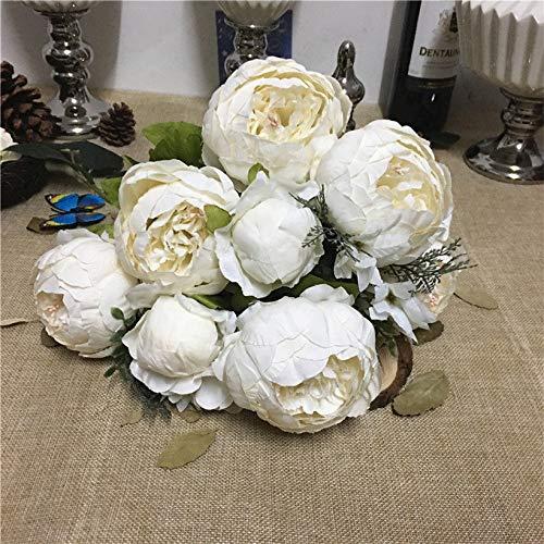 MEITAO Kunstbloem pioenrozenboeket simulatie kunstbloemen voor de tafel thuis bruiloft op kunstzijde bloemen pioenrozen wit Melk wit.