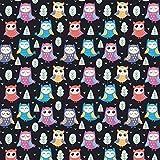 Tela de algodón 100 % para niños, por metros, artesanía, tela de costura, diseño de búho, color negro, 300 x 160 cm