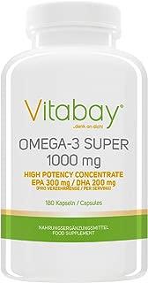 Vitabay Omega 3 Super 1000 mg (incluidos los ácidos grasos EPA 300 mg DHA 200 mg) - 180 cápsulas