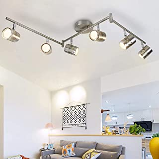 Depuley GU10 - Lámpara LED de techo con riel, giratorio de metal níquel para cocina, comedor, pasillo, escalera, salón y dormitorio (6 bombillas GU10 incluidas)
