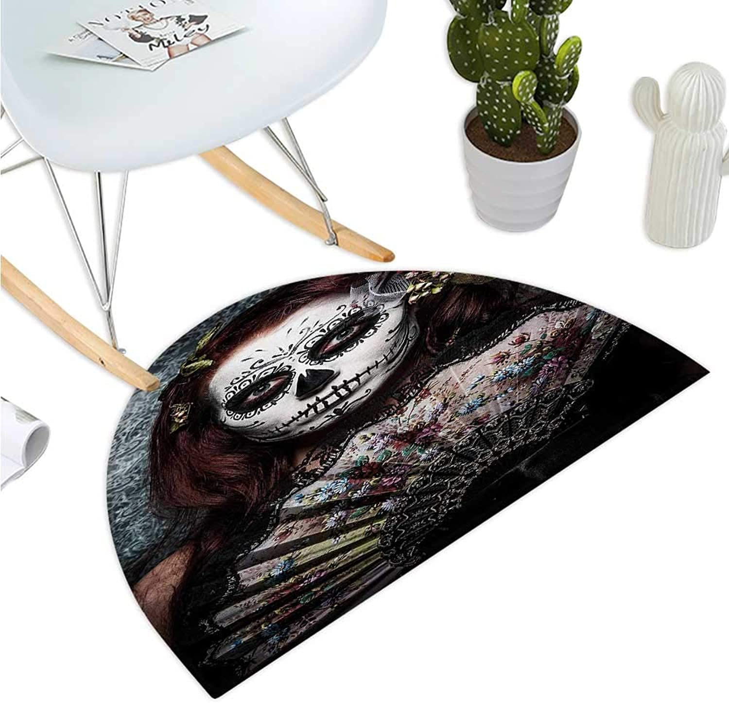 Day of The Dead Semicircular Cushion Make up Artist Girl with Dead Skull Scary Mask pinks Artwork Print Bathroom Mat H 51.1  xD 76.7  Cadet bluee Maroon