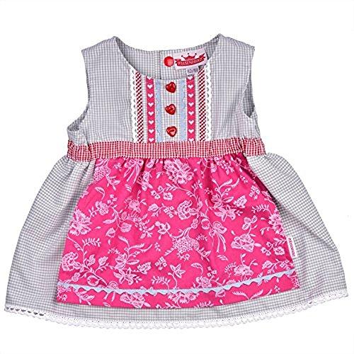 Bavariashop Dirndl jurk, schattige eendelig, aangenaaide schort, 100% katoen, kleur grijs roze, voor fessen meisjes maat 110