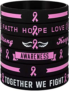 Sainstone Cancer & Cause Awareness Bracelets, Mental Health Awareness Ribbon Bracelets with Saying, Set of 3 Silicone Rubber Wristbands Gifts for Men Women, Patients Survivors