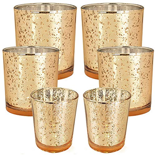 Just Artifacts 6pcs Assorted Size Speckled Mercury Glass Votive Candle Holders (Gold)
