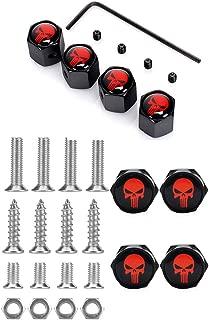 Dsycar Chrome Metal Skull Logo Anti-Theft Car License Plate Bolts Frame Screws- Gift 4 Free Skull Logo Tire Valve Stem Caps (Black-Red)