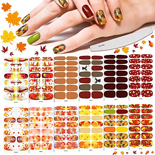 12 Sheets 168 Pieces Fall Full Nail Wrap Thanksgiving Full Wrap Nail Sticker Maple Leaf Nail Sticker Fall Nail Art Decal Self-Adhesive Nail Polish Strip with Nail File for Manicure (Autumn Style)