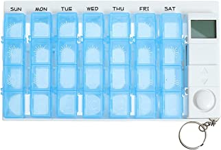 Cxjff Pill Holder Case Portable 7 Days 28 Compartments Vitamin Medicine Box Organizer Container with 5 Groups - Blue