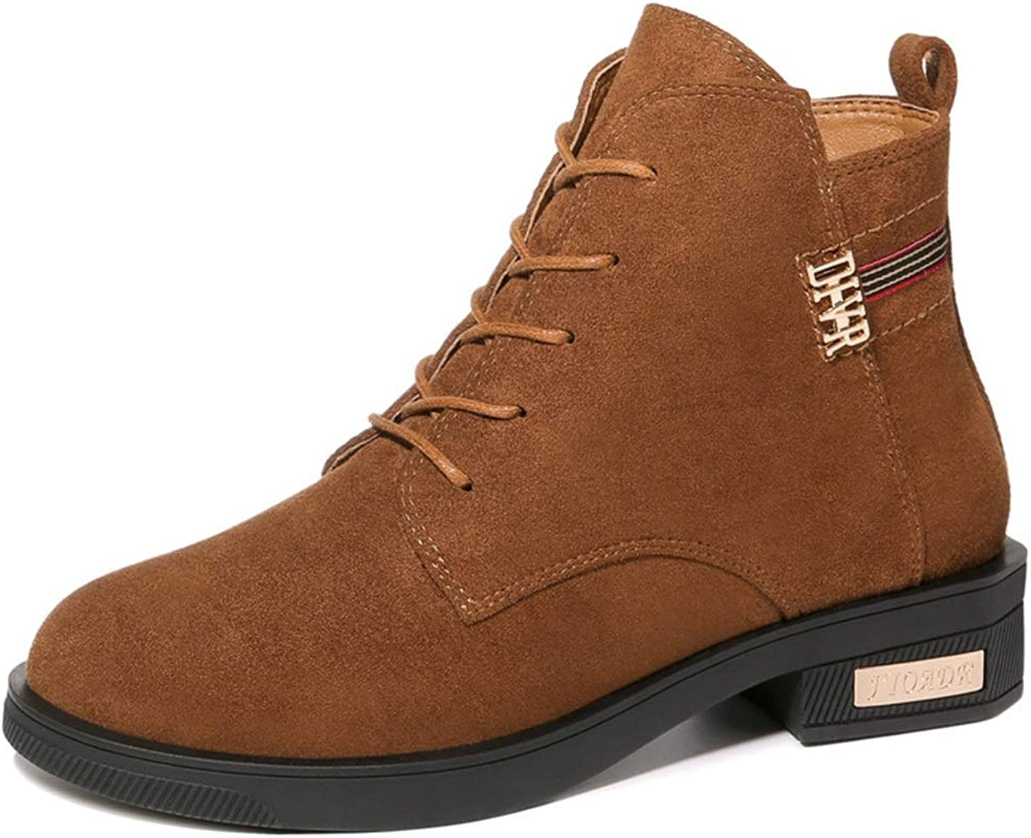 Ladies Booties, Flat Mid Heel Plus Velvet Fang He Lace-up Martin Boots Women Fall Winter Leather Martin Boots Fashion Boots (color   B, Size   36)