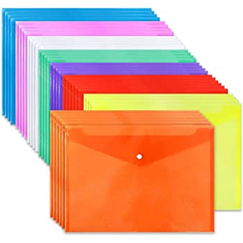 36pcs Poly Envelope Folders, Clear Plastic Envelopes with Snap Button Closure, 8 Colors, A4 Size for School Office