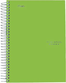 "Five Star Spiral Notebook, 5 Subject, College Ruled Paper, 9-1/2"" x 6"", Lime (73665)"
