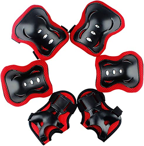 new arrival Valleycomfy Youth Kids Knee Pad Elbow Pads Wrist Guards Protective Gear 6 in 1 Set for Roller Skates online sale Cycling BMX Bike Skateboard Inline Skatings Scooter 2021 Riding Sports (Red, M) online