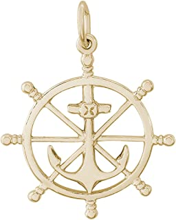 Rembrandt Sterling Silver Two-Tone 3-D Ship Wheel Charm on a Sterling Silver Rope Chain Necklace