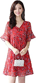 Women's Short Sleeve Dresses Casual Loose Chiffon Floral Elegant Dresses Simple (Color : Red, Size : XXXXL)