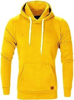 FSSE Men's Fleece Casual Active Solid Loose Pullover Hoodie Sweatshirt