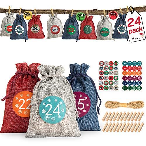 X99 24 Adventskalender zum Befüllen Stoff, Weihnachten Geschenktaschen mit Zahlen Aufkleber Mini-Holzklammern und 10m Jute Hanfseile DIY Selbstbefüllen Aufhängen Stoffbeutel für Dekoration