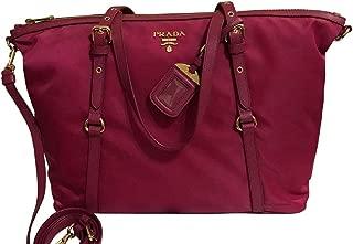 Prada Ibisco Pink Tessuto Nylon Saffiano Leather Trim Shopping Tote Bag 1BG253