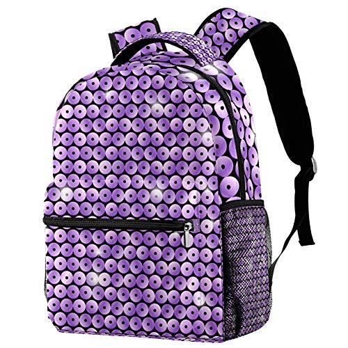Mini Laptop Bag Sequin Purple Glitter Backpack for Primary/Junior/Middle/College 29.4x20x40cm