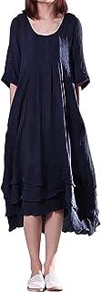 スタイルドーム(StyleDome) レディース 半袖 ワンピース マキシ ポッケト付き 綿100 大きいサイズ(S-5XL)薄手 着痩せ