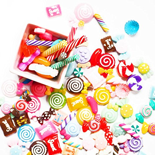 Wildlead 30 PCS DIY Scrapbooking Handy Schutzhülle Decor Crafts Miniatur-Fake Harz Lollipop Candy Zubehör