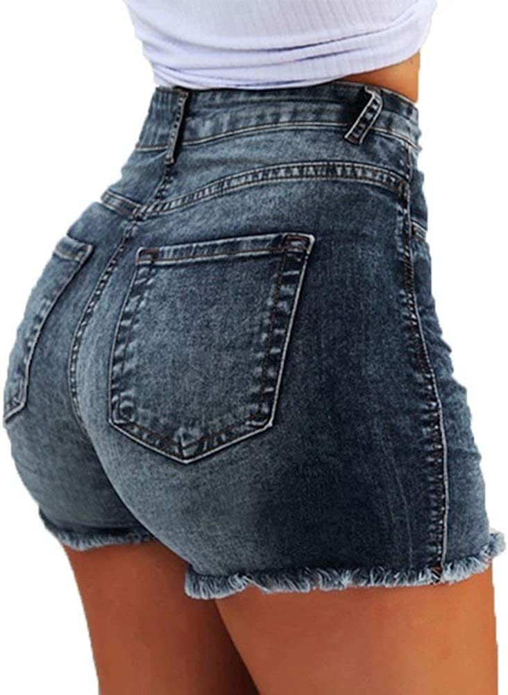 ThusFar Women's Summer Frayed Raw Push Up 5 Pockets High Waist Skinny Stretch Fitted Body Enhancing Denim Shorts Jeans