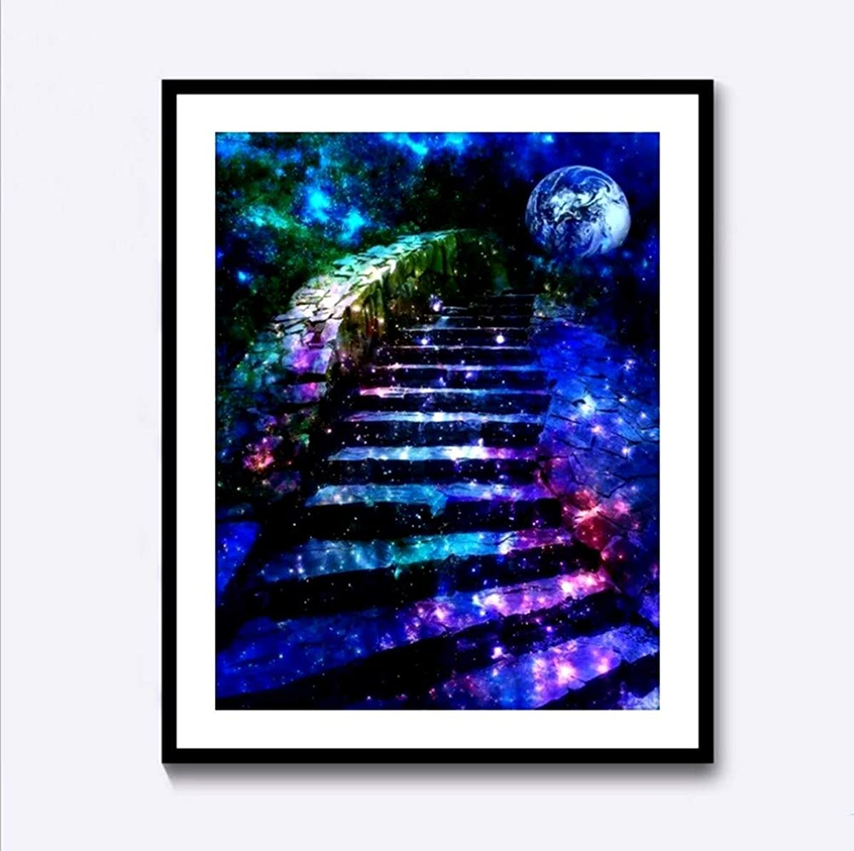 Full Drill 5D DIY Diamond Painting by Number Kits,Rhinestone Cross Stitch Arts Craft Supply for Home Wall Decor Stairway to Starry