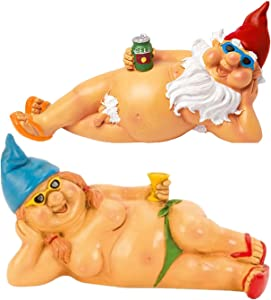 2Pcs Garden Naked Couple Gnome Statue,Funny Beach Lover Resine Figurines,Art Decoration for Lawn Ornaments Indoor or Outdoor Garden Decorations(B)