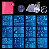 Biutee Placas Estampacion Uñas kit 12pcs Placas Uñas Stamping de Acero Inoxidable con 1 Sello...