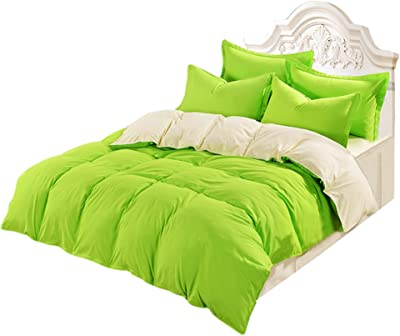 Vosarea Bed Duvet Cover Soft Breathable Cover for Adults Teenagers 180 x 220CM (Fruit Green and Cream-coloured)