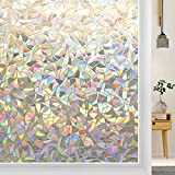 DOWELL Window Film Privacy 3D Decorative Window Films for Glass Static Window Clings Removable Vinyl Stained Glass Window Decals Rainbow Effect Glue Free UV Protection Window Sticker 23.6'x78.7'