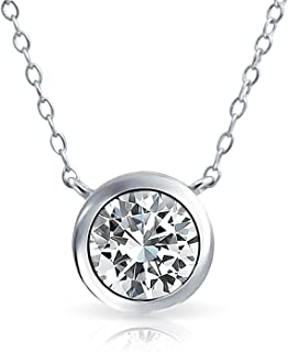 Bling Jewelry 2CT Brilliant Cut AAA CZ Bezel Solitaire Pendant Necklace More Colors