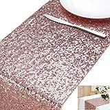 MengH-SHOP Runner da Tavolo con Paillettes Tovaglia Glitter Rettangolare per la Decorazione di Banchetti di Matrimonio Oro Rosa 30 * 280 cm