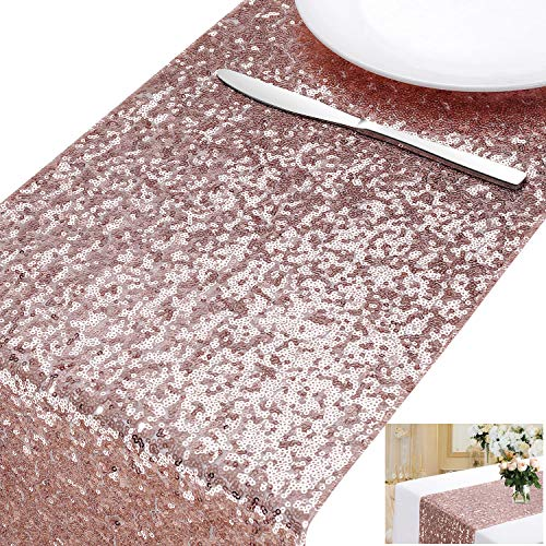 MengH-SHOP Tischläufer Pailletten Rosegold Tischdecken Tischfahne Dekoration für Party Hochzeit Geburtstag Baby Duschen 30 * 280cm