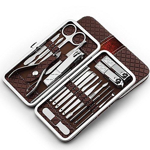 Manicure Set 18-delig voor mannen en vrouwen - vijl uit Solingen nagelset met alles wat je voor de manicure en pedicure nodig hebt. bruin