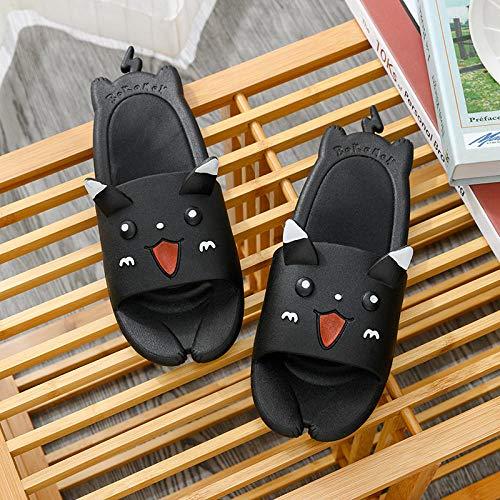 TDYSDYN Antideslizantes Playa Piscina Ducha Sandalias,Sandalias y Zapatillas de Dibujos Animados, Zapatos de baño para el hogar.-Negro_36-37