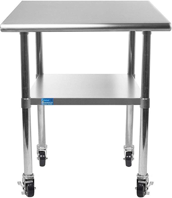 18 X 24 Stainless Steel Work Table With Under Shelf 4 Wheels NSF Kitchen Island Food Prep Laundry Garage Utility Bench Prep Worktable