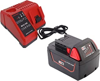 FengBP®Replacement For Milwaukee 18V Charger + 18V 5,0Ah Battery for Milwaukee M18 Impact Wrench 48-11-1828 48-11-1840 C18...