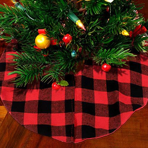 URATOT 2 Pack Mini Christmas Tree Skirt Fabric Skirt Christmas Tree Plush Skirt 15' White and Red for Christmas Tree Decorations